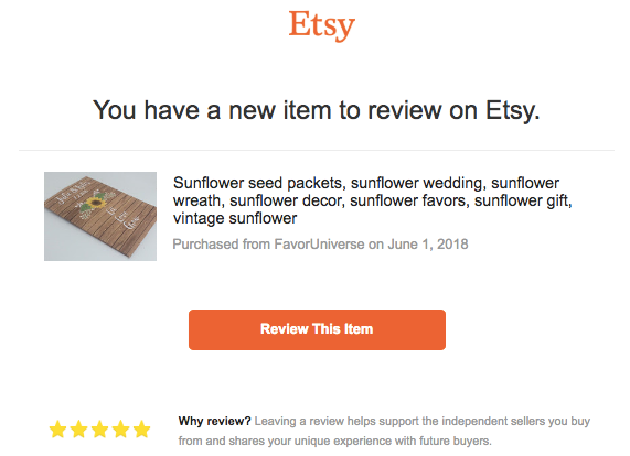 how to ask customers for reviews on etsy
