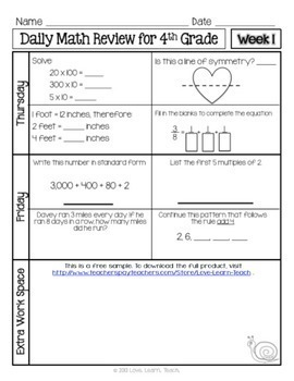 4th grade math review test printable