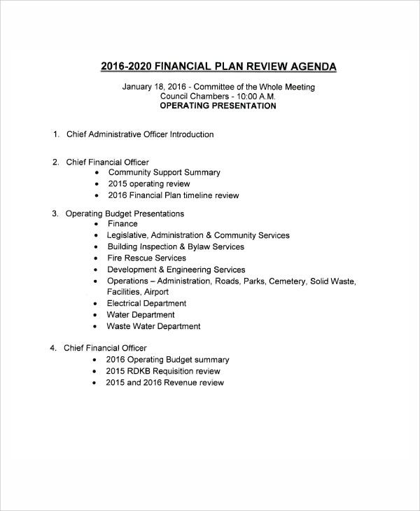 financial planning annual review template