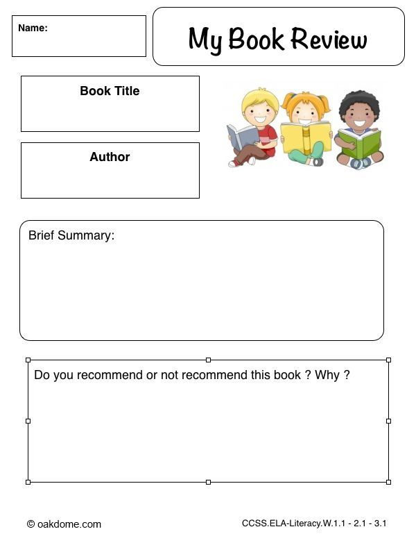 examples of book reviews for primary school
