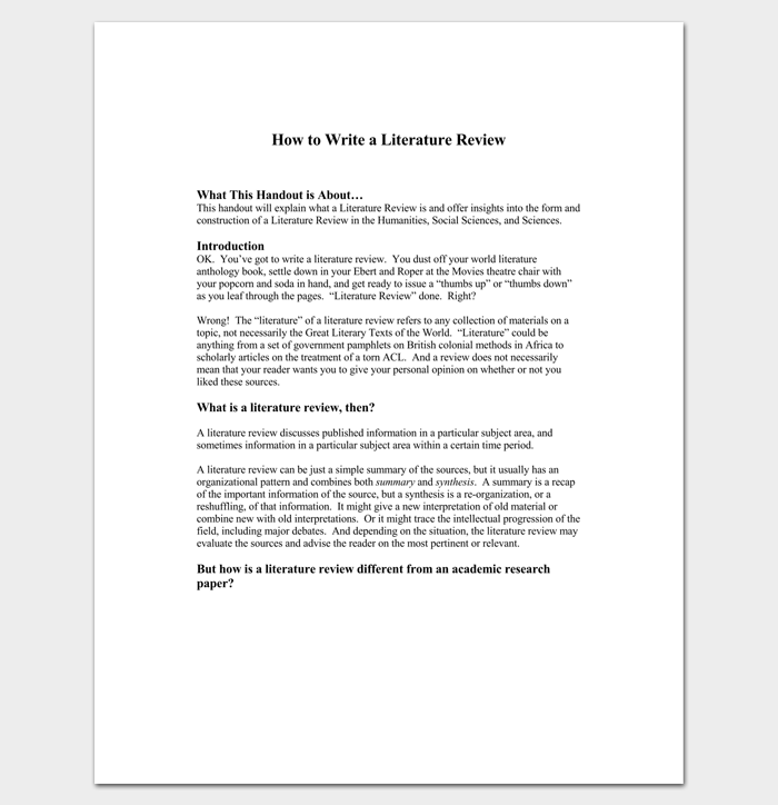 how to write a literature review for psychology