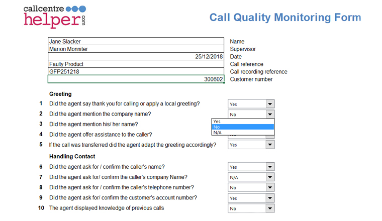 arc call performance monitoring reviews
