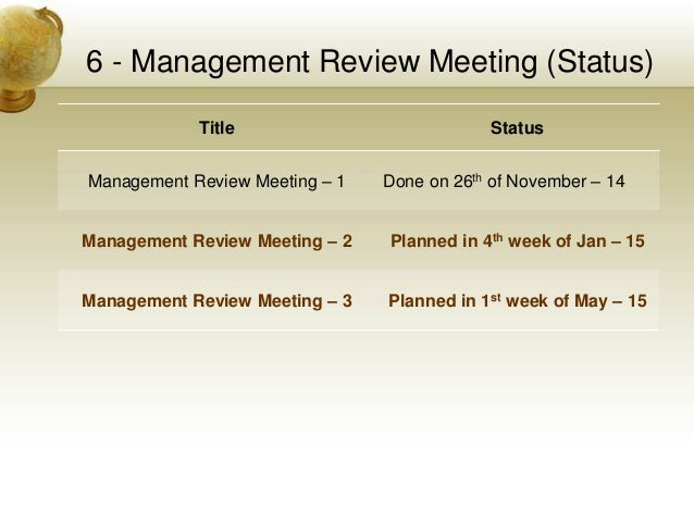 iso 9001 management review meeting presentation